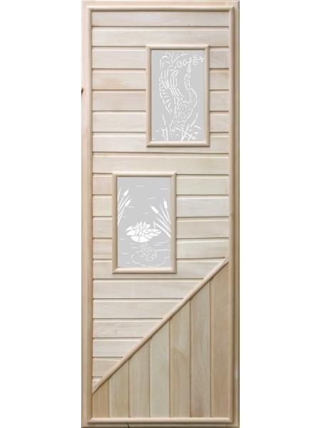 Дверь с двумя прямоугольными вставками с сюжетом