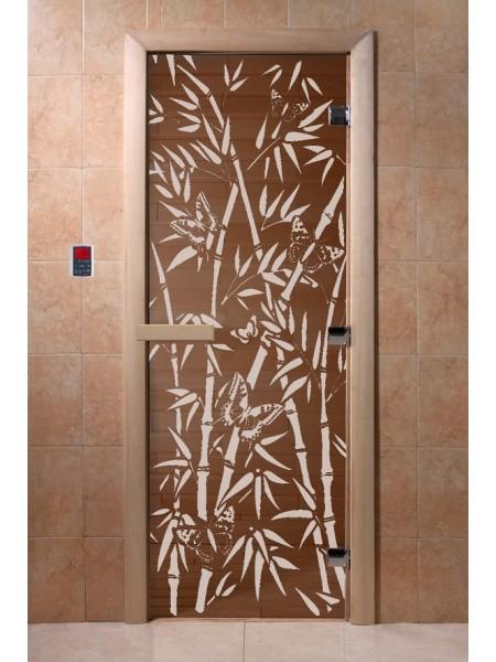 """Дверь """"Бамбук и бабочки бронза"""""""