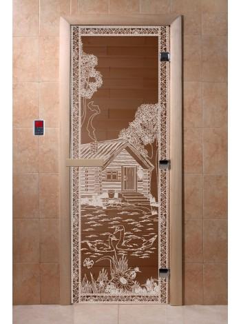 """Дверь """"Банька в лесу бронза"""""""