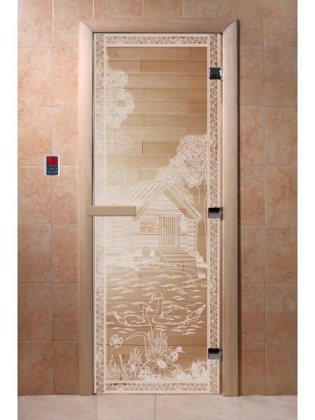 """Дверь """"Банька в лесу прозрачная"""""""