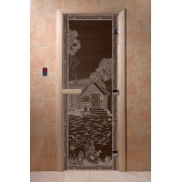 """Дверь """"Банька в лесу черный жемчуг"""""""