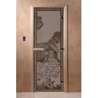 """Дверь """"Банька в лесу черный жемчуг матовая"""""""
