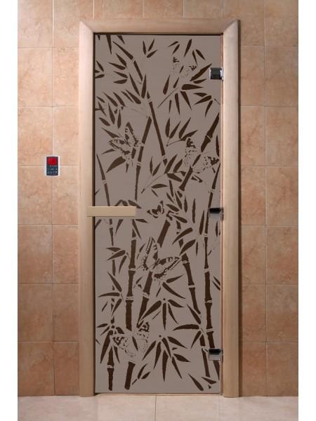 """Дверь """"Бамбук и бабочки черный жемчуг матовая"""""""