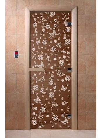 """Дверь """"Цветы и бабочки бронза"""""""