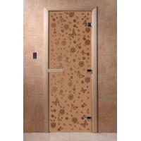 """Дверь """"Цветы и бабочки бронза матовая"""""""