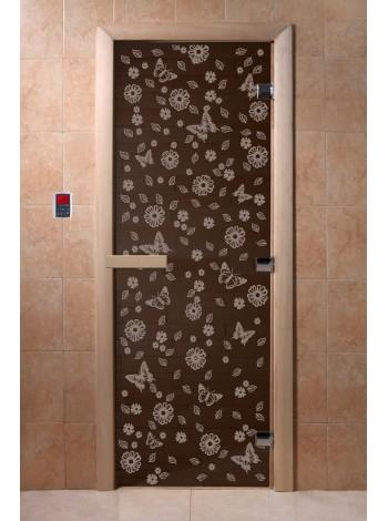 """Дверь """"Цветы и бабочки черный жемчуг"""""""