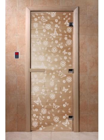"""Дверь """"Цветы и бабочки прозрачная"""""""