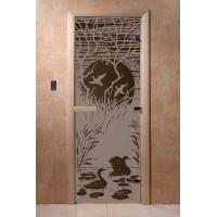"""Дверь """"Лебединое озеро черный жемчуг матовая"""""""