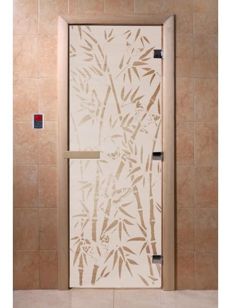 "Дверь ""Бамбук и бабочки сатин"""
