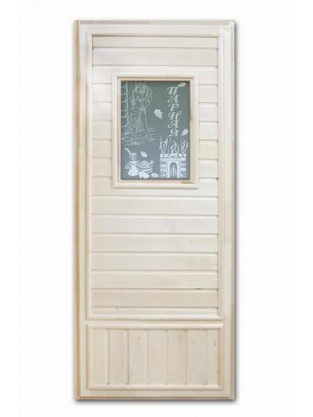 """Дверь """"Вагонка эконом"""" со стеклом Девушка в баньке"""