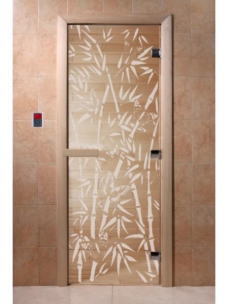 """Дверь """"Бамбук и бабочки прозрачная"""""""