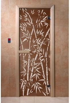 """Дверь """"Бамбук и бабочки"""" бронза 1900*700, 6мм, 2 петли"""