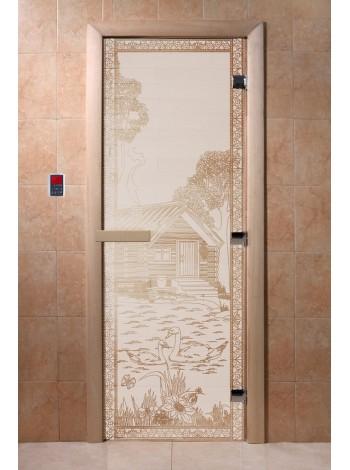 "Дверь ""Банька в лесу сатин"""