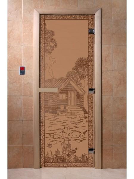 """Дверь """"Банька в лесу бронза матовая"""""""