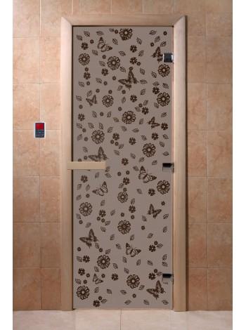 """Дверь """"Цветы и бабочки черный жемчуг матовая"""""""