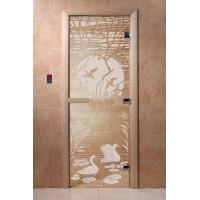 """Дверь """"Лебединое озеро прозрачная"""""""