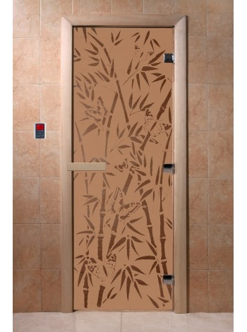 """Стеклянная дверь """"Бамбук и бабочки бронза матовая"""" Doorwood купить в Москве и области, каталог, цены"""