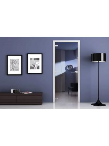 Стеклянная межкомнатная дверь Зеркальная (Синяя)