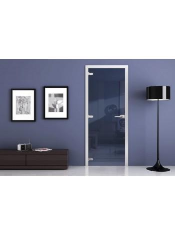 Стеклянная межкомнатная дверь Зеркальная (Синий Жемчуг)