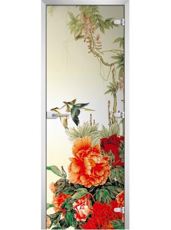 Стеклянная межкомнатная дверь Flowers-06