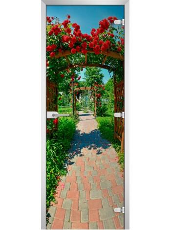 Стеклянная межкомнатная дверь с фотопечатью Nature-06