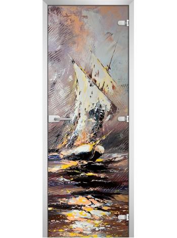 Стеклянная межкомнатная дверь Painting-02