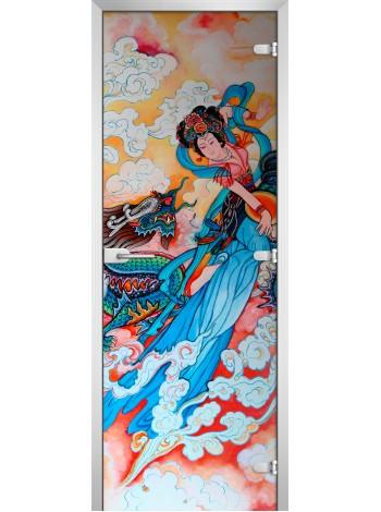 Стеклянная межкомнатная дверь Painting-05