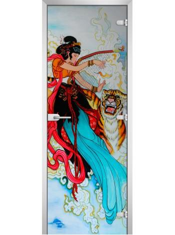 Стеклянная межкомнатная дверь Painting-06