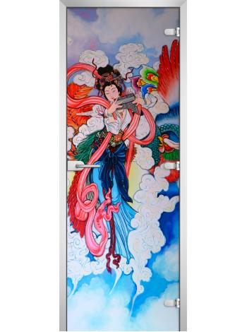 Стеклянная межкомнатная дверь Painting-07