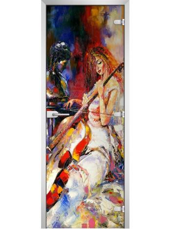 Стеклянная межкомнатная дверь Painting-15