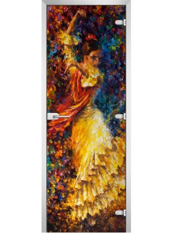 Стеклянная межкомнатная дверь Painting-18