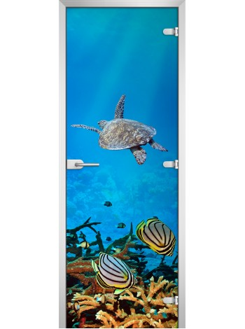 Стеклянная межкомнатная дверь Underwater World-02