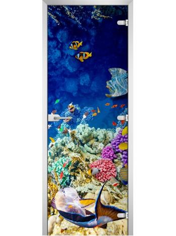 Стеклянная межкомнатная дверь Underwater World-04