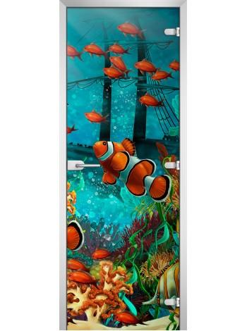Стеклянная межкомнатная дверь Underwater World-18