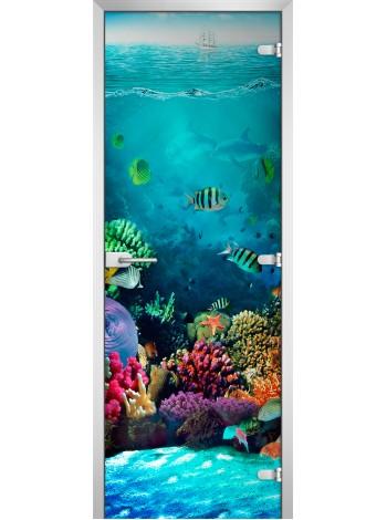 Стеклянная межкомнатная дверь Underwater World-19