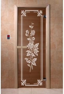 """Дверь """"Розы бронза"""" 1900*700, 6мм, 2 петли"""