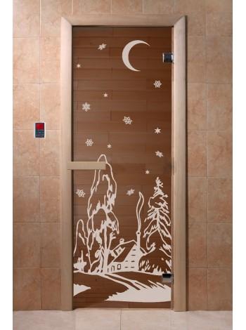 """Дверь """"Зима бронза"""" 1900*700, 6мм, 2 петли"""